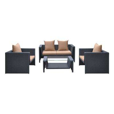 Oahu 4-Piece Wicker Patio Seating Set with Brown Cushions
