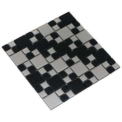 Rousha/Black, 4 in. x 4 in. x 6 mm Glass Mesh-Mounted Mosaic Tile, Tile Sample