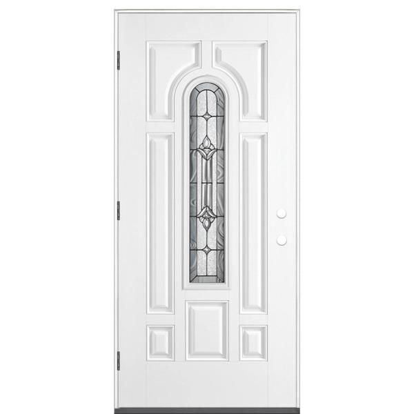 36 in. x 80 in. Providence Center Arch Right-Hand Outswing Primed White Smooth Fiberglass Prehung Front Exterior Door