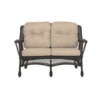 Cappuccino Collection Wicker Outdoor Loveseat with Beige Cushions