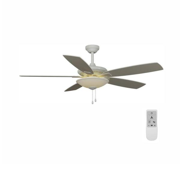 Menage 52 in. Integrated LED White Ceiling Fan with Light Kit and Remote Control Works with Google and Alexa