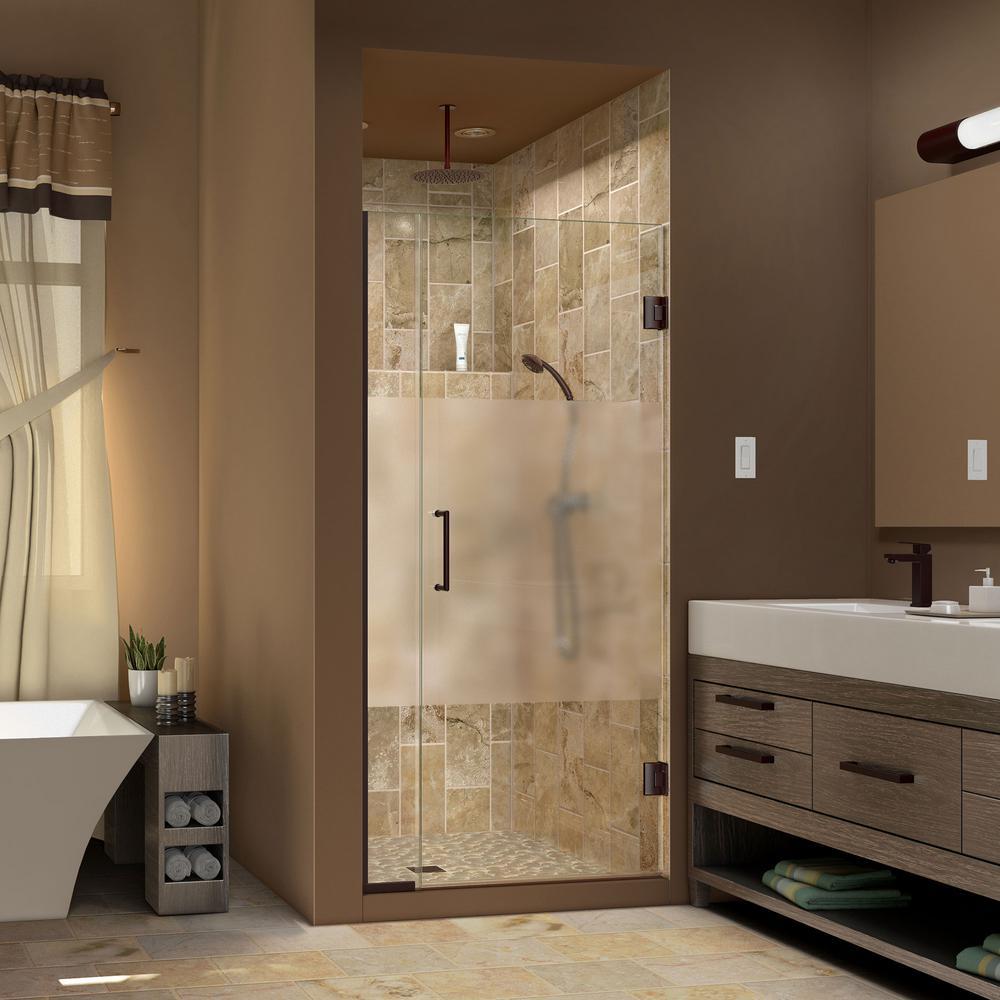 Unidoor Plus 35-1/2 in. to 36 in. x 72 in. Semi-Frameless Pivot Shower Door in Oil Rubbed Bronze with Handle