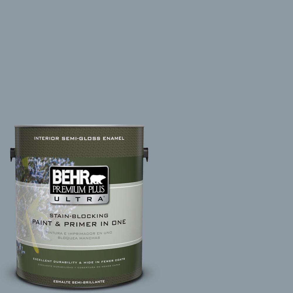 BEHR Premium Plus Ultra 1-gal. #N490-4 Teton Blue Semi-Gloss Enamel Interior Paint