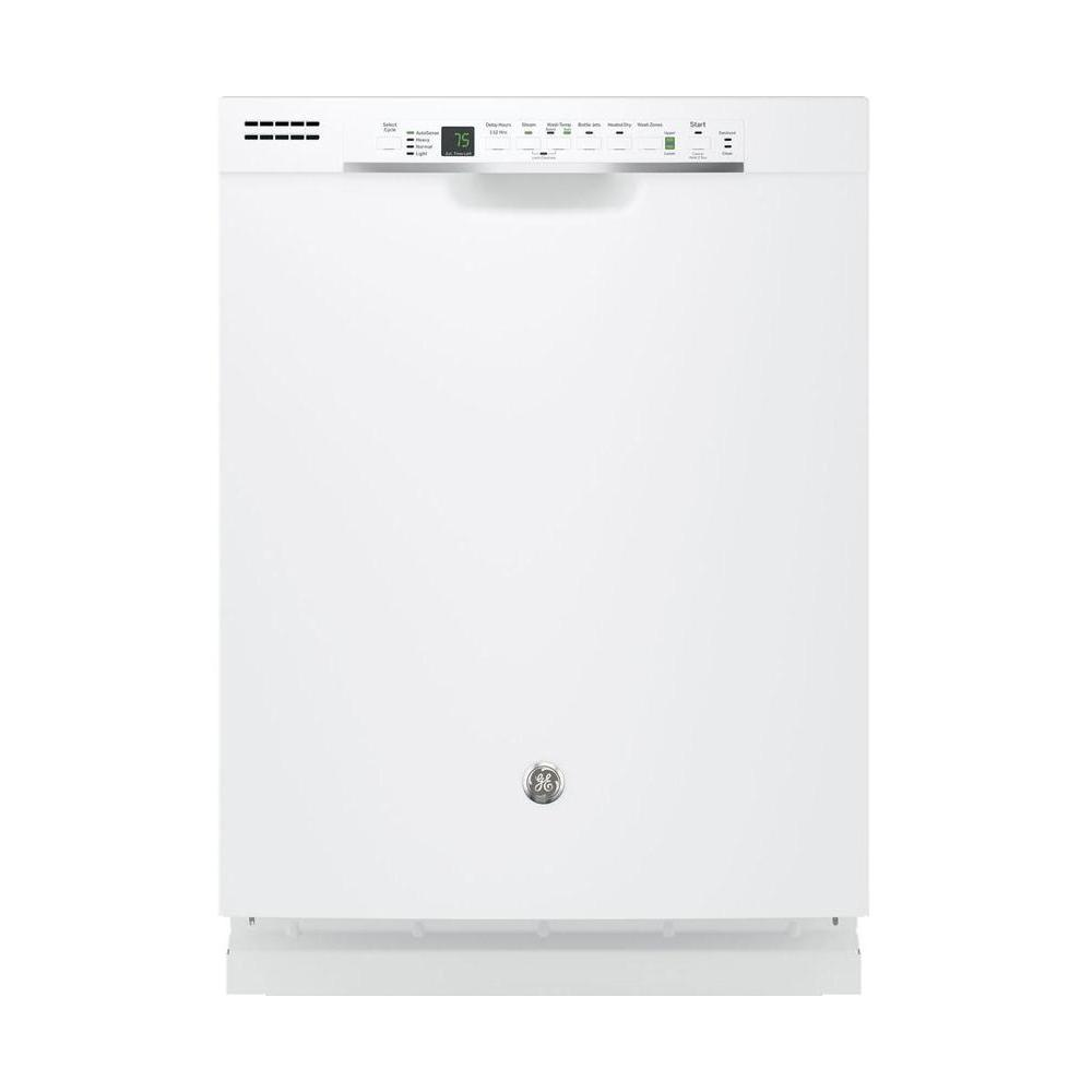 GE Front Control Dishwasher in White with Hybrid Stainless Steel Tub and Steam Prewash