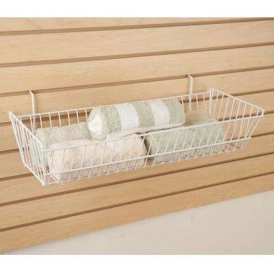 24 in. W x 10 in. D x 5 in. H White Double Sloping Basket