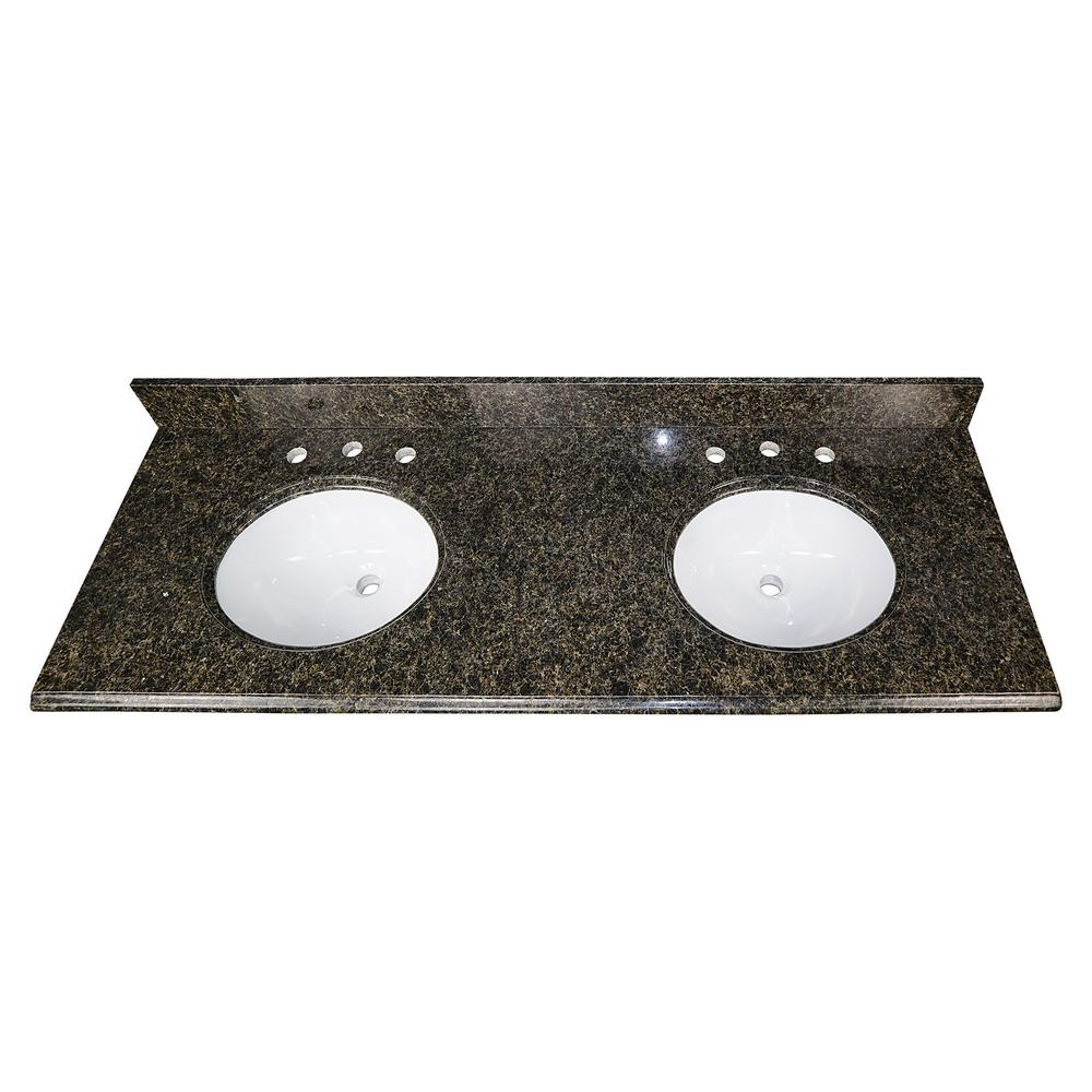 Home Decorators Collection 61 in. W Granite Double Oval Basin Vanity Top in Uba Tuba with White Basins was $978.0 now $684.6 (30.0% off)