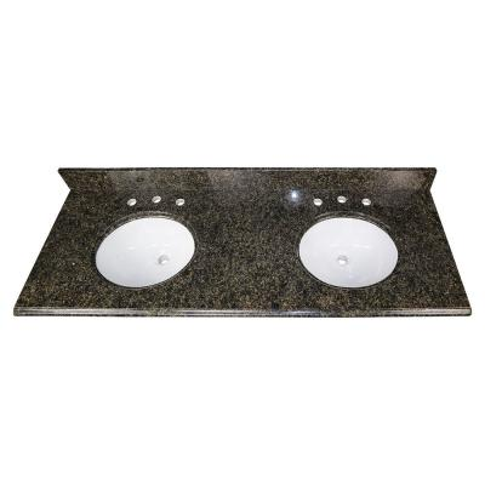 61 in. W Granite Double Oval Basin Vanity Top in Uba Tuba with White Basins