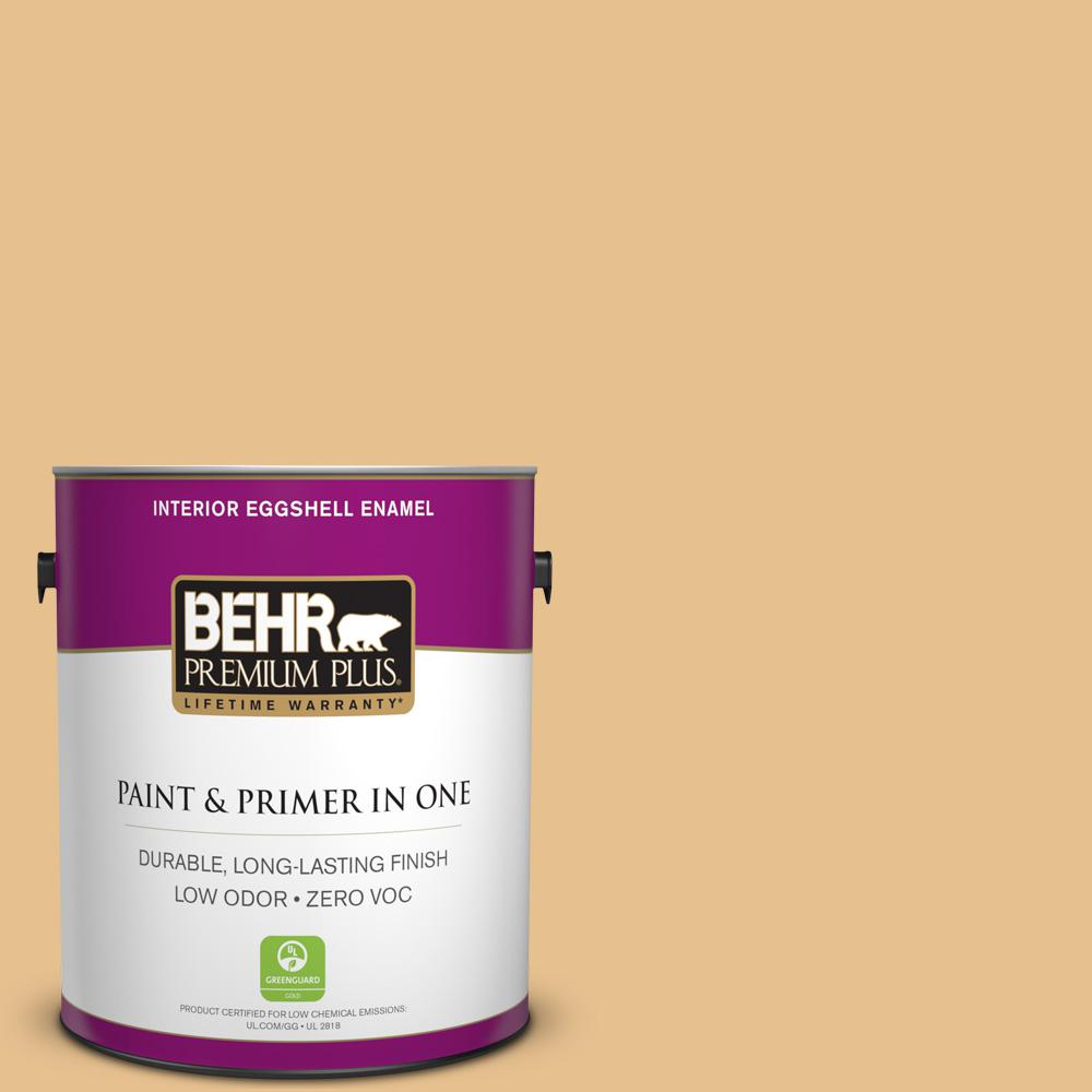 1 gal. #T17-02 Gold Hearted Zero VOC Eggshell Enamel Interior Paint