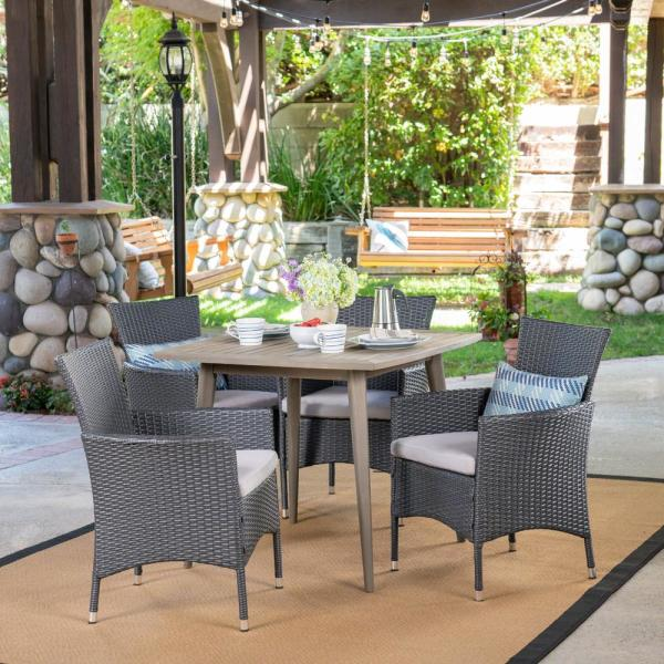 Noble House Coronado S Gray 5 Piece Wood And Wicker Outdoor Dining Set With Silver Cushions 42786 The Home Depot