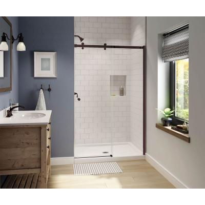 Luminescence 47 in. x 72 in. Frameless Sliding Shower Door in Dark Bronze
