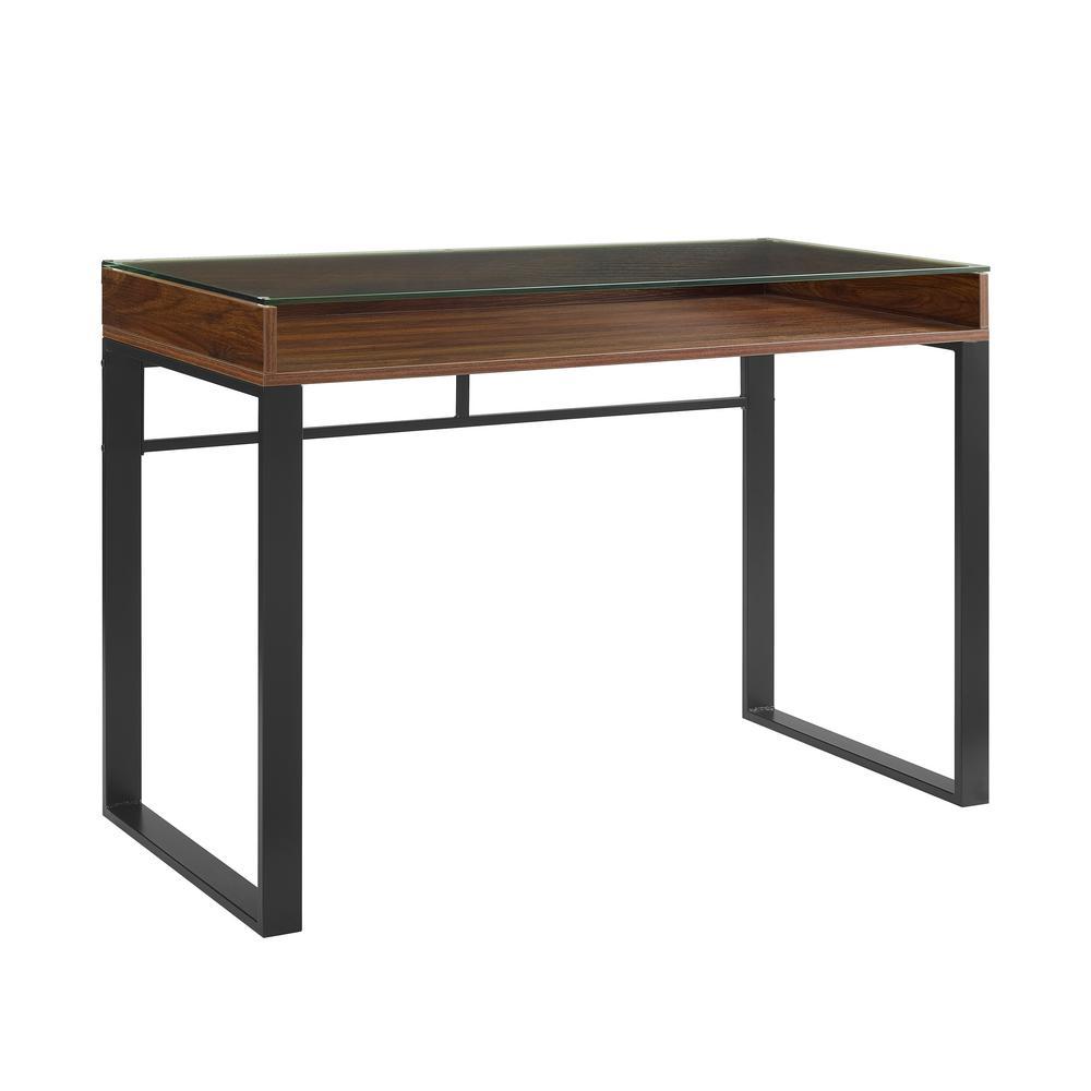 42 inch Dark Walnut and Black Modern Glass Top Desk