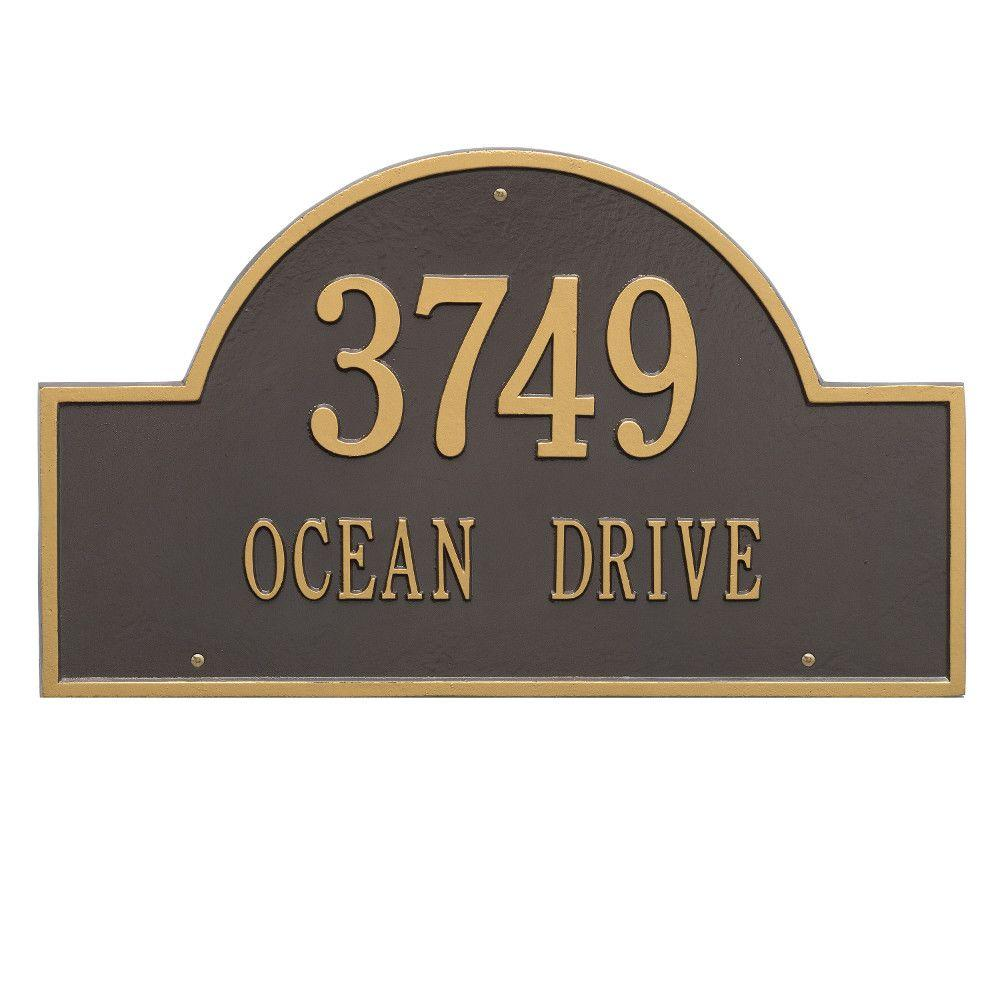 Whitehall Products Arch Marker Estate Bronze/Gold Wall 2-Line Address Plaque