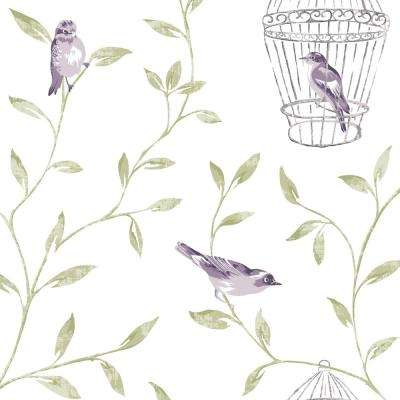 Amethyst Birds and Cages Wallpaper