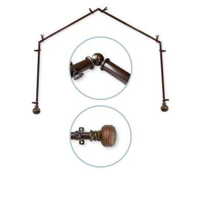 28 in. - 48 in. Ornament 4-Sided 13/16 in. Dia Bay Window Curtain Rod in Cocoa