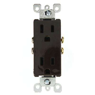 Decora 15 Amp Residential Grade Grounding Duplex Outlet, Brown