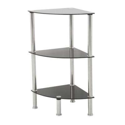 11.8 in. W x 11.8 in. D Black Glass and Chrome Corner 3-Tier Shelving Unit
