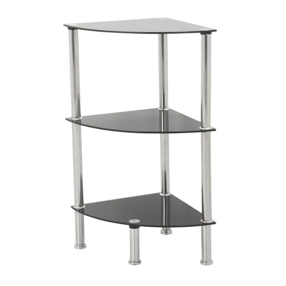 Avf 11 8 in w x 11 8 in d black glass and chrome corner for Avf furniture