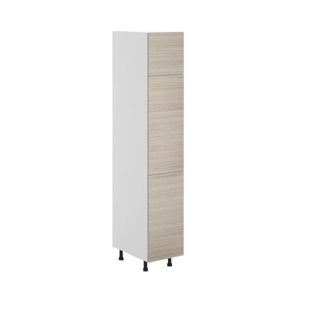 Fabritec Geneva Ready to Assemble 15.125 x 83.625 x 24.375 in. Pantry/Utility Cabinet in White Melamine and Door in Silver Pine