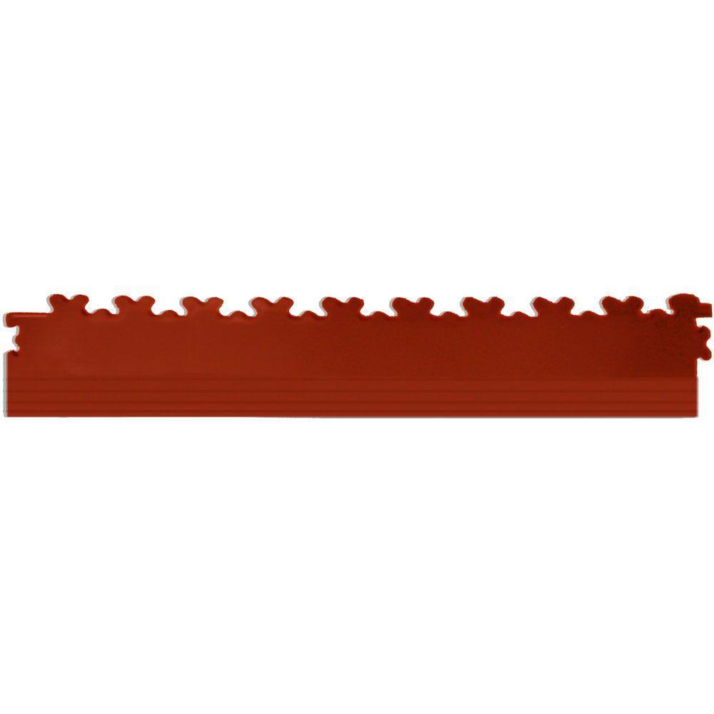 IT-tile 20-1/2 in. x 2-1/2 in. Diamond Plate Terracotta PVC Tapered Interlocking Multi-Purpose Flooring Tile Edges (4-Pack)