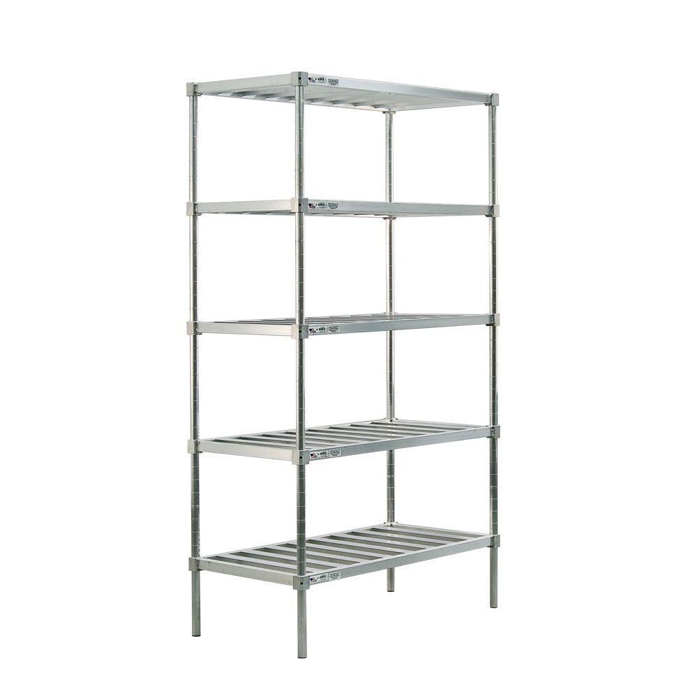 New Age Industrial 5-Shelf Aluminum T-BAR Style Adjustable Shelving