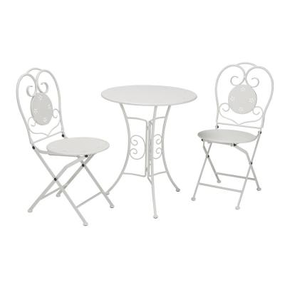 Intellifit 3-Piece Metal Outdoor Bistro Set in White
