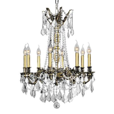Windsor 8-Light Antique Bronze Chandelier with Clear Crystal