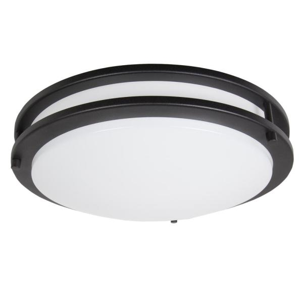 Maxxima 14 In Round 1 Light Black Integrated Led Flush Mount Mcl 3142300b The Home Depot