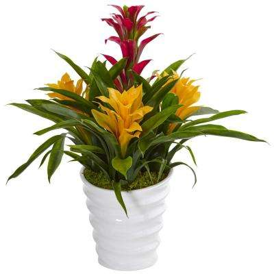 Indoor Tropical Bromeliad Artificial Plant in White Swirl Vase