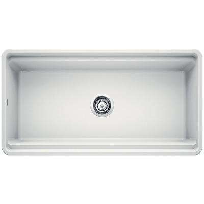Profina Apron Front Fireclay 36 in. Single Bowl Kitchen Sink in White