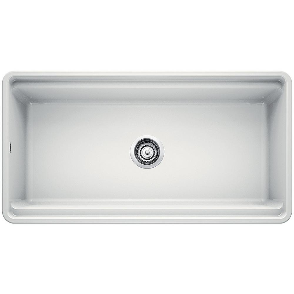 Blanco PROFINA Farmhouse Apron-Front Fireclay 36 in. Single Bowl Kitchen  Sink with Beechwood Cutting Board in White