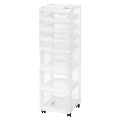 12.05 in. x 42.137 in. White Drawer Storage Cart with Organizer Top