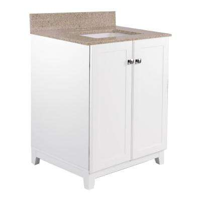 24 in. x 21 in. x 33 in. 2-Door Bath Vanity in White with Golden Sand Granite Vanity Top with Rectangle Basin in White