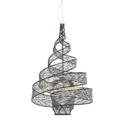 Flow 3-Light Steel Ore Wrapped Pendant