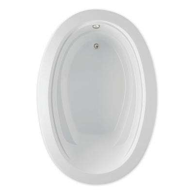 Belmont I 60 in. Acrylic Reversible Drain Oval Drop-In Soaking Bathtub in White