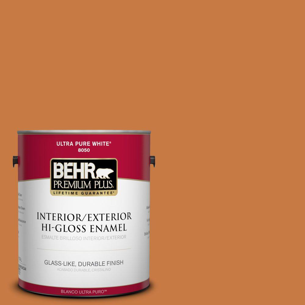 BEHR Premium Plus 1-gal. #M230-7 Rumba Orange Hi-Gloss Enamel Interior/Exterior Paint