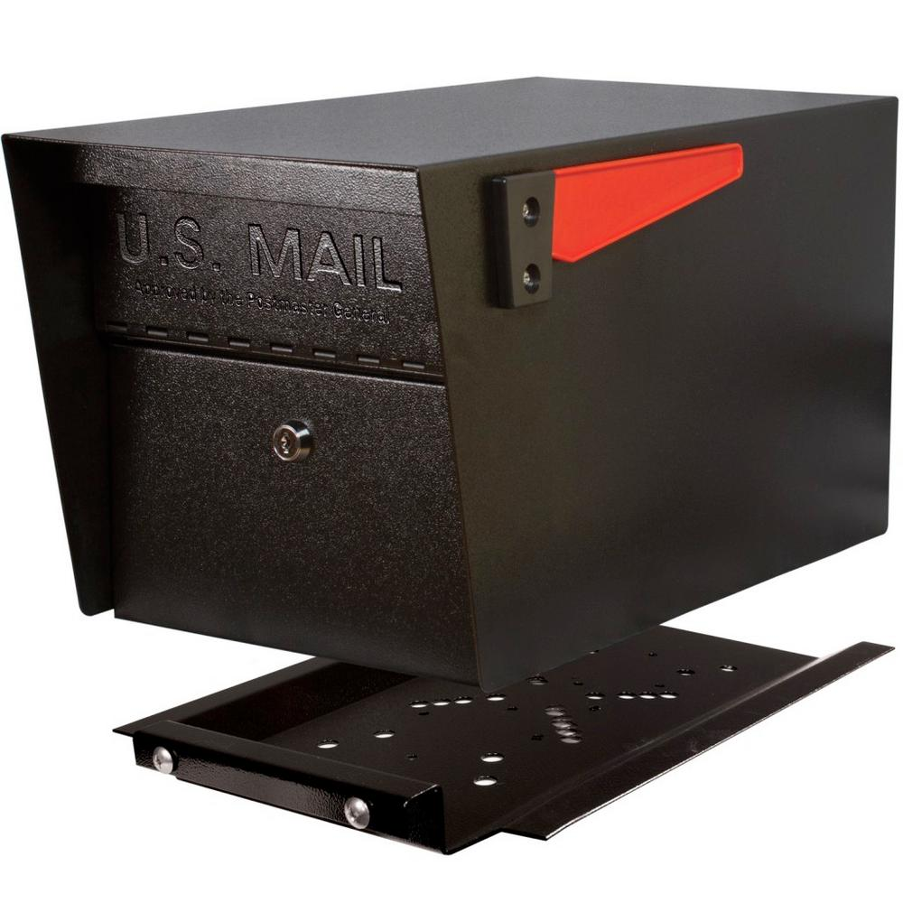 Mail Boss Mail Manager PRO Black Post-Mount with High Security Locking Patented Lock Mailbox