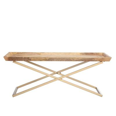 Eloise Cross Legged 16.50 in. Gold and Natural Wood Color Coffee Table