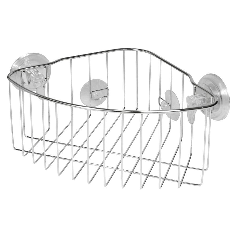 InterDesign PowerLock Reo Corner Shower Basket In Stainless Steel