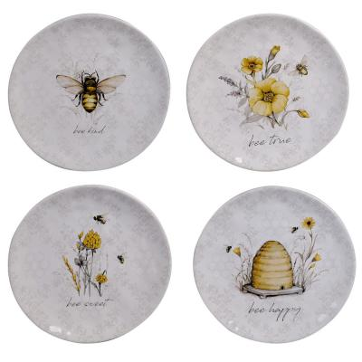 Bee Sweet 4-Piece Seasonal Multicolored Earthenware 8.5 in. Salad Plate Set (Service for 4)