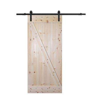 38 in. x 84 in. Z Bar 1-Panel Unfinished Natural Wood Sliding Barn Door with 6.6 ft. Dark Sliding Door Hardware Kit