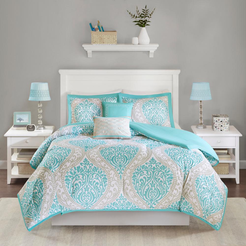 Sabrina 5-Piece Aqua Full/Queen Comforter Set