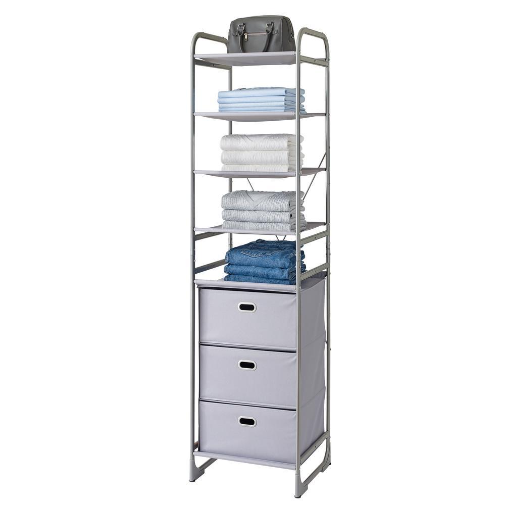 Versa System 4-Tier Shelf and 3-Drawer Storage Tower