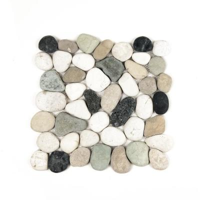 Classic Pebble Tile Black/Green/Tan 11-1/2 in. x 11-1/2 in. x 12.7 mm Mesh-Mounted Mosaic Tile (10.12 sq. ft. / case)