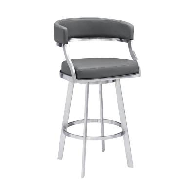 Saturn Contemporary 26 in. Counter Height Bar Stool in Brushed Stainless Steel and Grey Faux Leather
