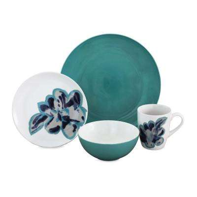 Bloom Jade 16-Piece Blue Dinnerware Set