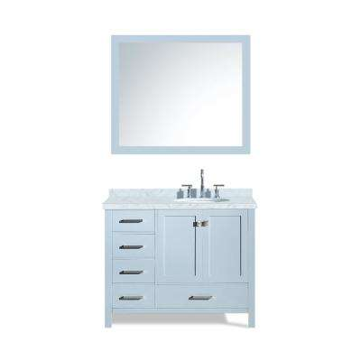 Cambridge 43 in. Bath Vanity in Grey with Marble Vanity Top in Carrara White with White Basin and Mirror