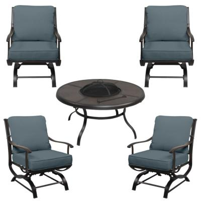 Redwood Valley Black 5-Piece Steel Outdoor Patio Fire Pit Seating Set with Sunbrella Denim Blue Cushions
