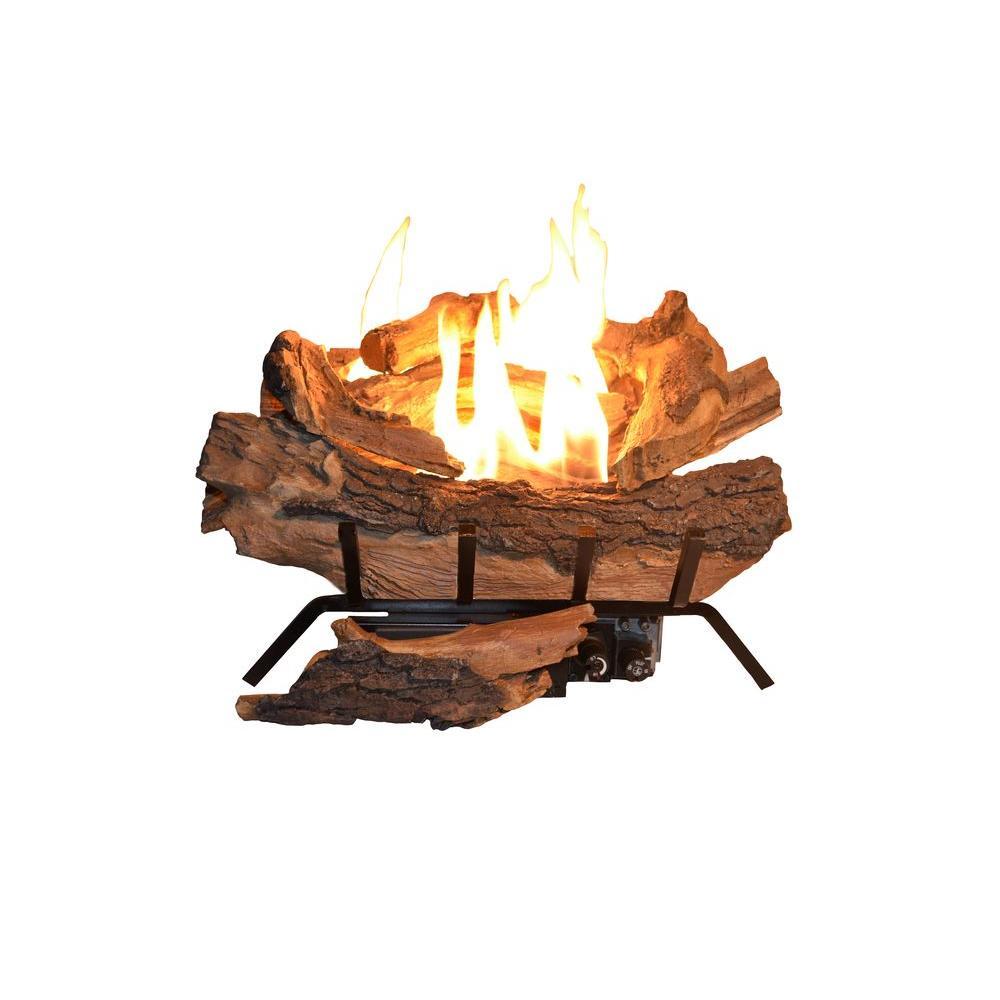 Emberglow Savannah Oak 18 in. Vent-Free Propane Gas Fireplace Logs ...