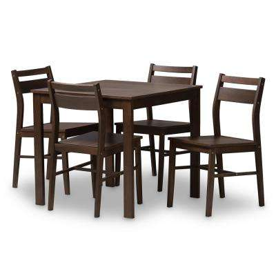 Lovy 5-Piece Walnut Brown Dining Set