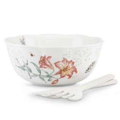 Butterfly Meadow 11 in. Dia 72 oz. Multi Color 3-Piece Porcelain Salad Bowl Set with Wood Servers